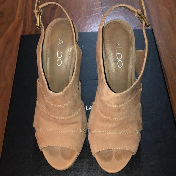 ALDO platform tan suede sling back heels